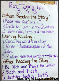 test taking tips anchor chart