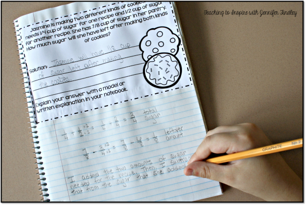 This teacher uses word problems in her interactive math notebooks as one way to ensure she regularly incorporates words problems in her instruction. FREE examples on the post.