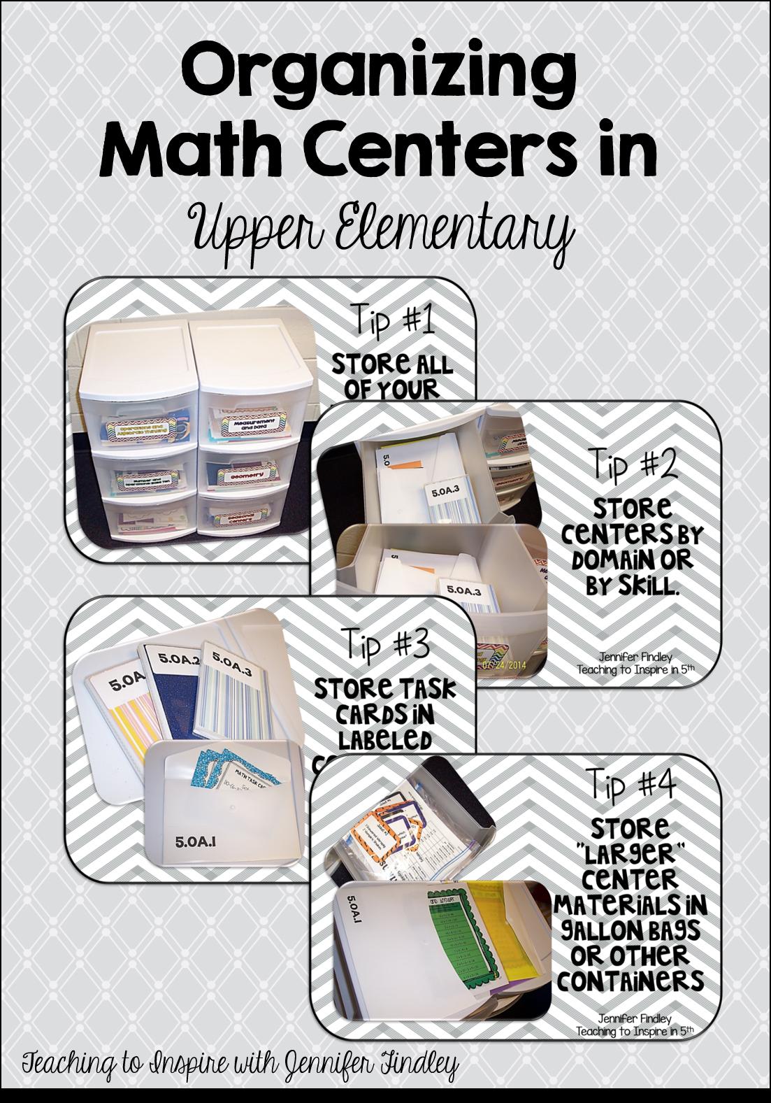 Organizing Math Centers