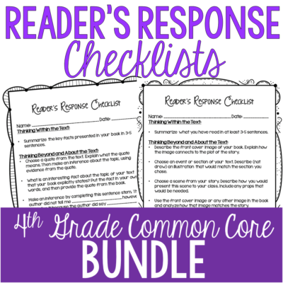 Rigorous reader's response checklists for 4th grade.