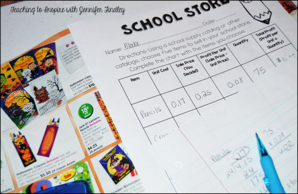 school store math free printable
