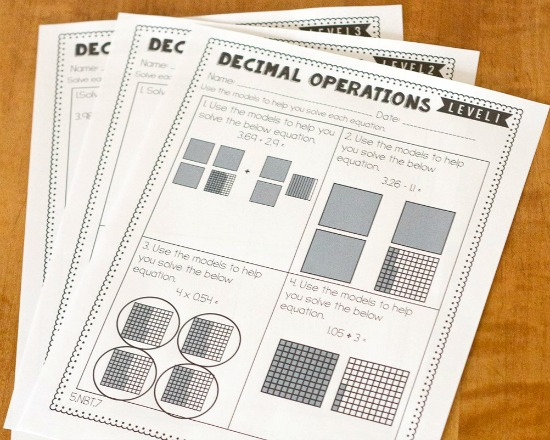 differentiated-math-sheets