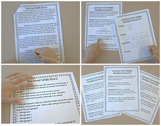 Reading homework for upper elementary that is consistent, rigorous, and common core aligned.