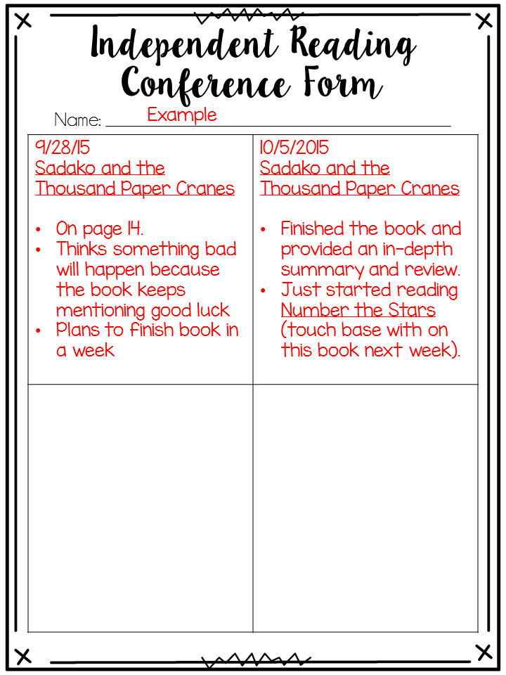 One of my favorite parts of reading is independent reading conferences. I wanted to share some ideas about how to get started with independent reading conferences.