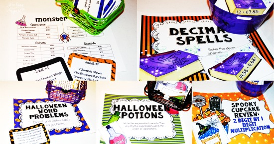 Halloween Math Centers for 4th and 5th Grade