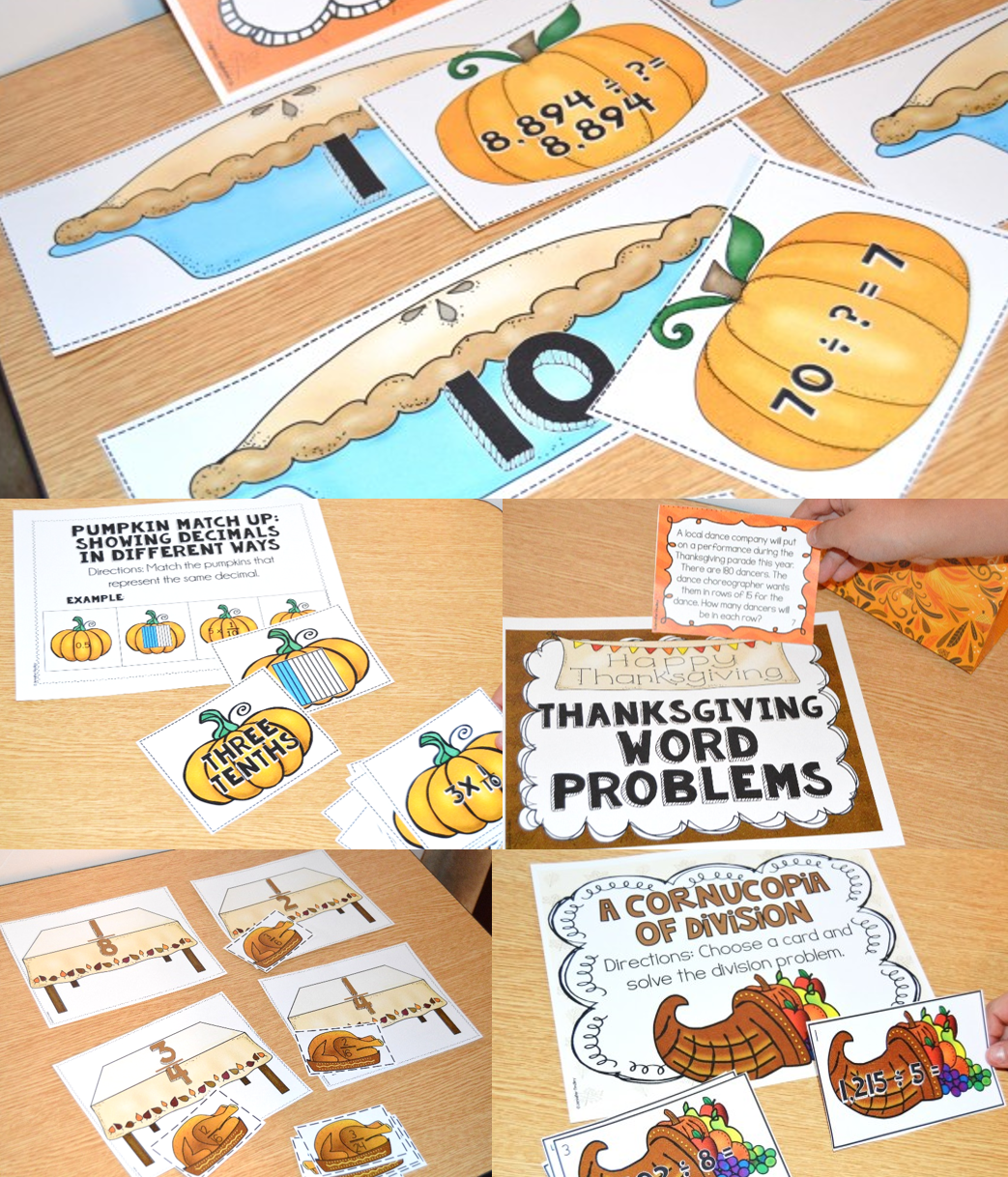 Thanksgiving Math Centers for 5th Grade