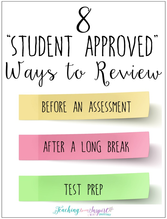 Review can be engaging and sometimes even fun. Read this post for eight engaging ways to review that are student approved and easy prep.