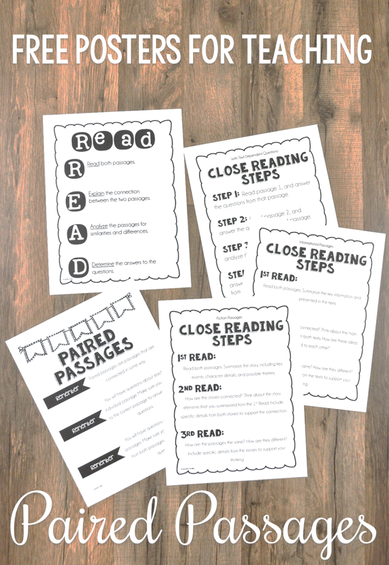 FREE teaching posters for paired passages and paired texts.