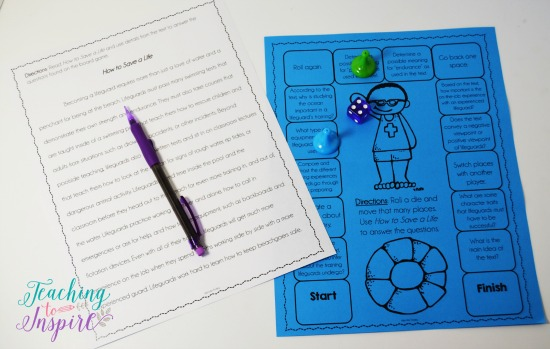 Reading gameboards are perfect for engaging reading centers for upper elementary students.