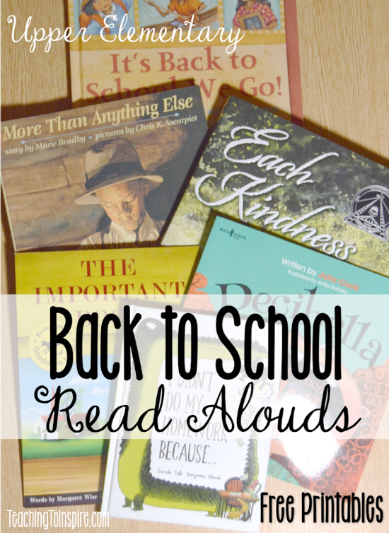 Back to school read alouds are perfect for building communication and teaching classroom expectations. Read about six back to school read alouds perfect for upper grades, and grab free printables for each one on this post.