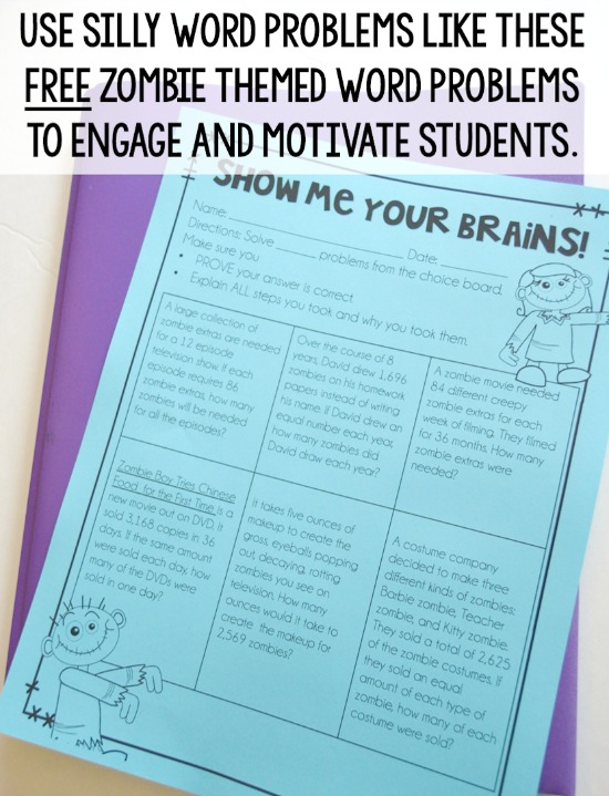 Using silly word problems is a great way to motivate and engage students. Grab this FREE zombie themed word problem choice board on this post.