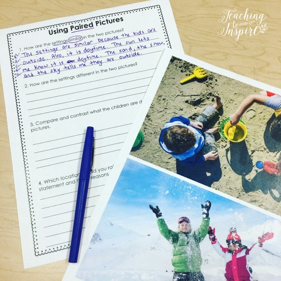 Use paired pictures to introduce paired texts and paired passages.