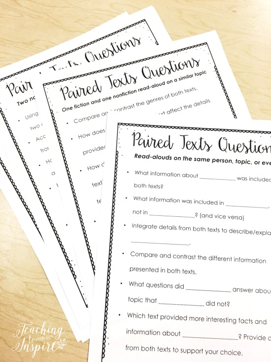 Free questioning guide to use with paired texts!