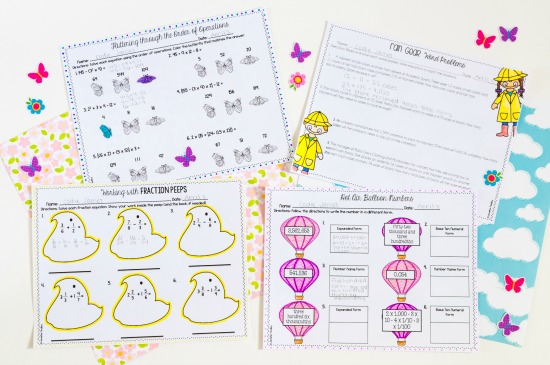 These just print spring themed math printables are perfect to add some spring activities into your classroom.