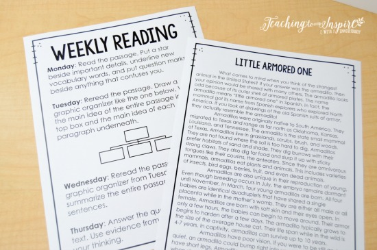 This weekly reading is a great option for a fluency activity for guided reading. Read about more suggestions for guided reading texts on this post.