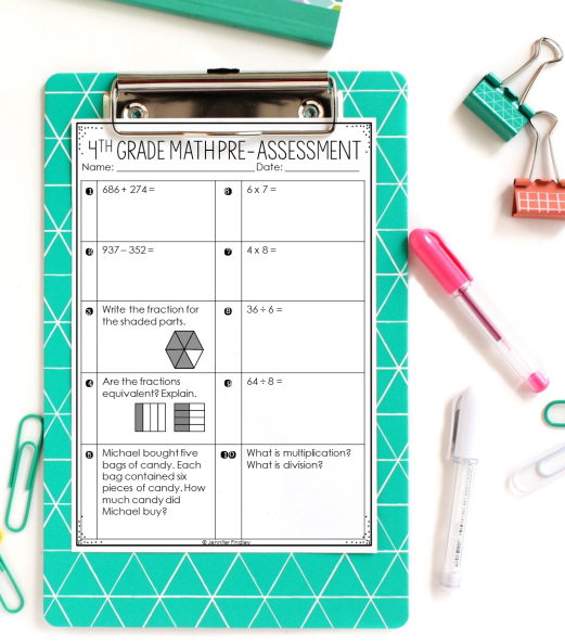 FREE math pre-assessments for grades 3-5 to use at the beginning of the year to help group your students for math centers and give you an overall picture of their math levels.