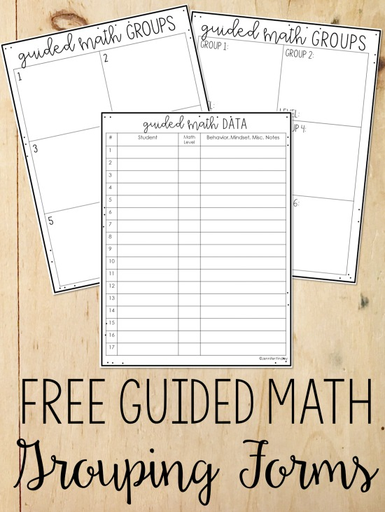Free forms to help you group your students into guied math center groups