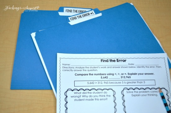"FREE ""Find the Error"" printables and FIVE other math centers to use when launching guided math centers in grades 3-5."