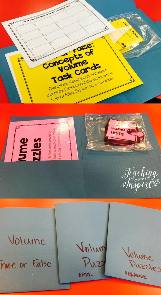 Organizing your math centers with affordable folders and Ziploc bags.