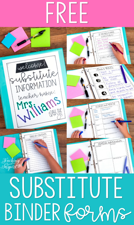 FREE Substitute Binder Forms to get organized for when you are absent!