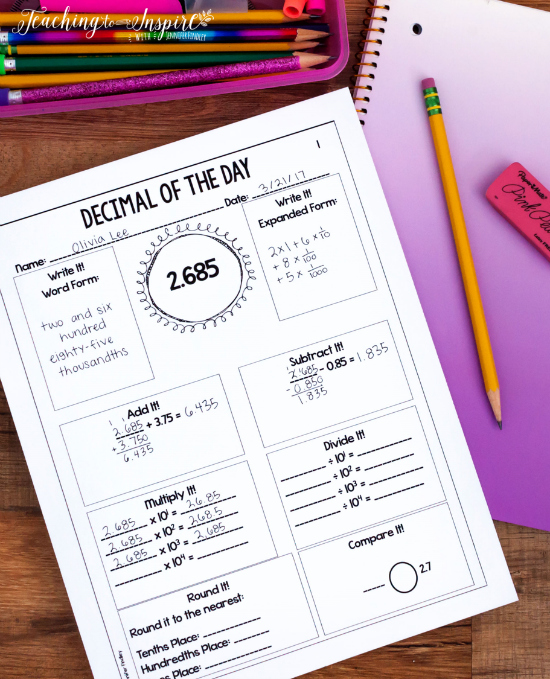 Decimal of the day printables are the perfect way to spiral your math skills and keep them fresh all year.