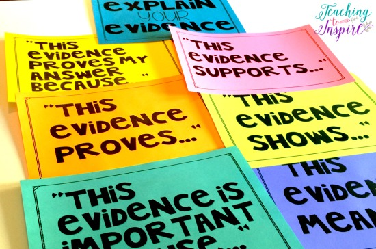 Use these FREE sentence stems to help students explain how their evidence supports their inferences.