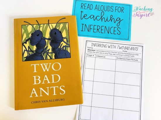 Two Bad Ants by Chris Van Allsburg is perfect for introducing students to inferences and using evidence to support those inferences. Click through to read about more suggested read alouds for teaching inferences.