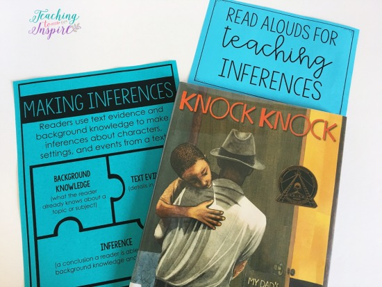 Knock Knock: My Dad's Dreams for Me is a great book for teaching students to infer. Read more suggested read alouds for inferences on this post.