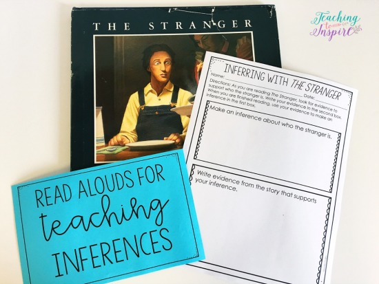 The Stranger by Chris Van Allsburg is a great book for teaching students to infer. Read more suggested read alouds for inferences on this post.