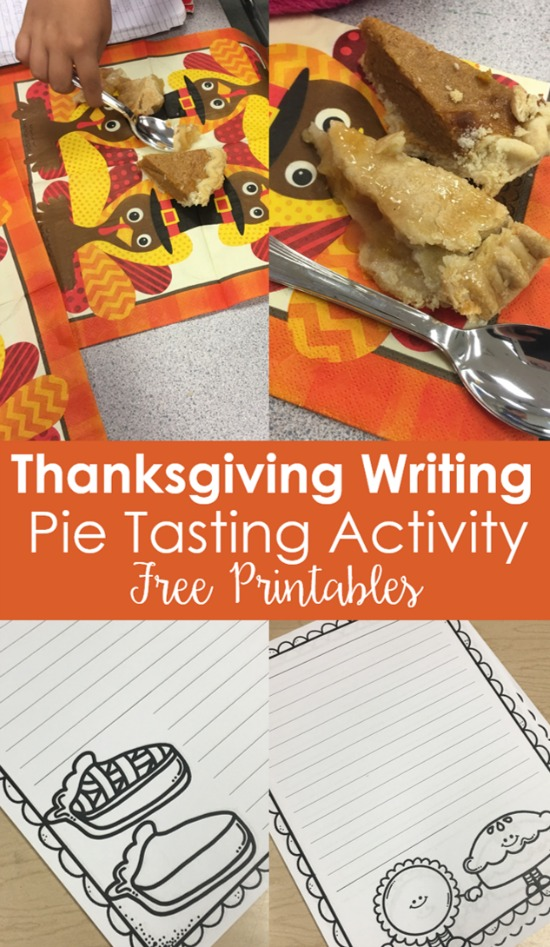 Engage your students and channel their holiday excitement with these Thanksgiving writing activities that involve pie tasting. Free printables included on the post.