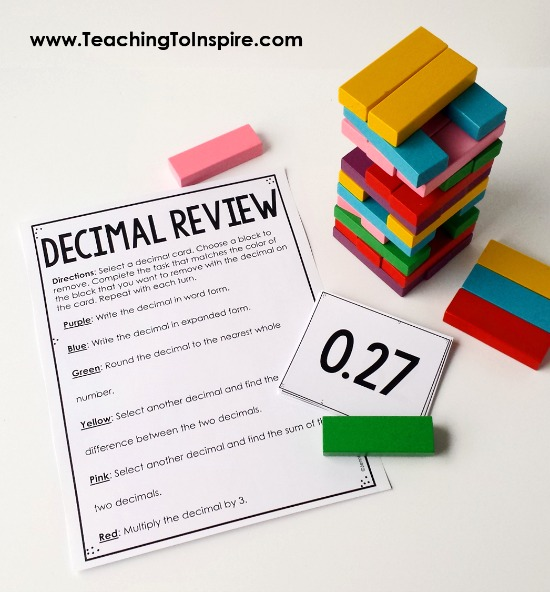 Want to review decimals in an engaging way? Click through to read about and download a FREE decimals game using Jenga blocks.