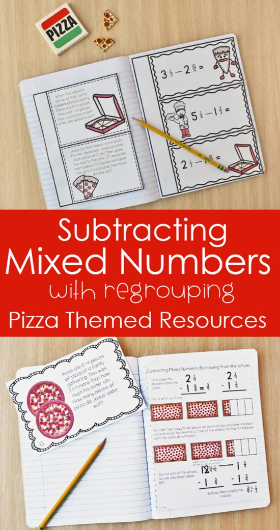 Help your students master subtracting mixed numbers with regrouping using pizza story problems