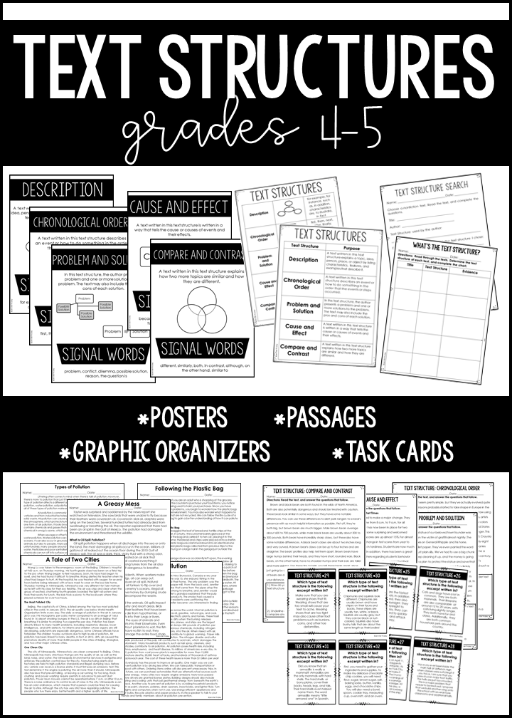 Everything you need to teach, re-teach, and assess informational text structures in this resource. Follow this link to read more tips and find mentor texts for teaching text structures.