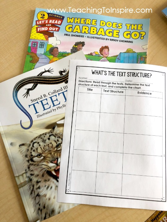 FREE text structure printable for the students to use to keep track of the text structures of the books they read.