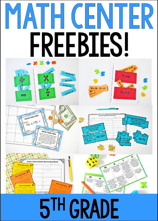 Free math centers for 5th grade! Click through to download lots of 5th grade math centers to try out in your classroom!