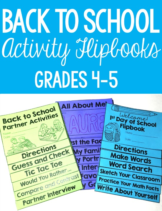 Back to school activities for grades 4-5