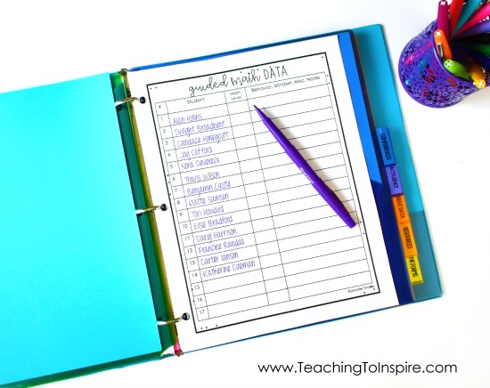 Get (and keep) your guided math instruction organized and running efficiently with these FREE guided math binder forms!