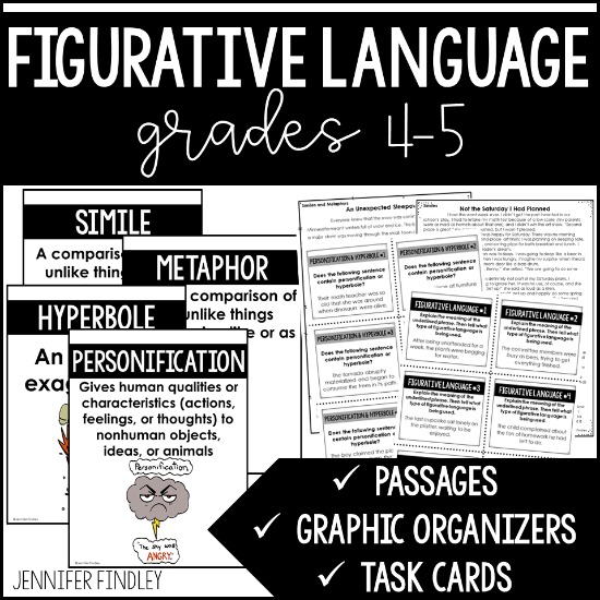 This one-stop resource includes everything you need to teach and practice figurative language, incliding similes, metaphors, hyperbole, and personification.