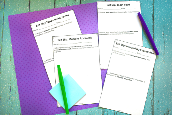 Reading exit slips are a great way to quickly assess your students on the reading skills and standards you are teaching. Grab some free reading exit slips on this post and read more about how to use them.