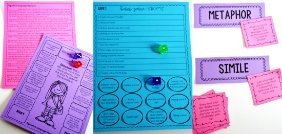 Figurative language reading games and centers for 4th and 5th grade!