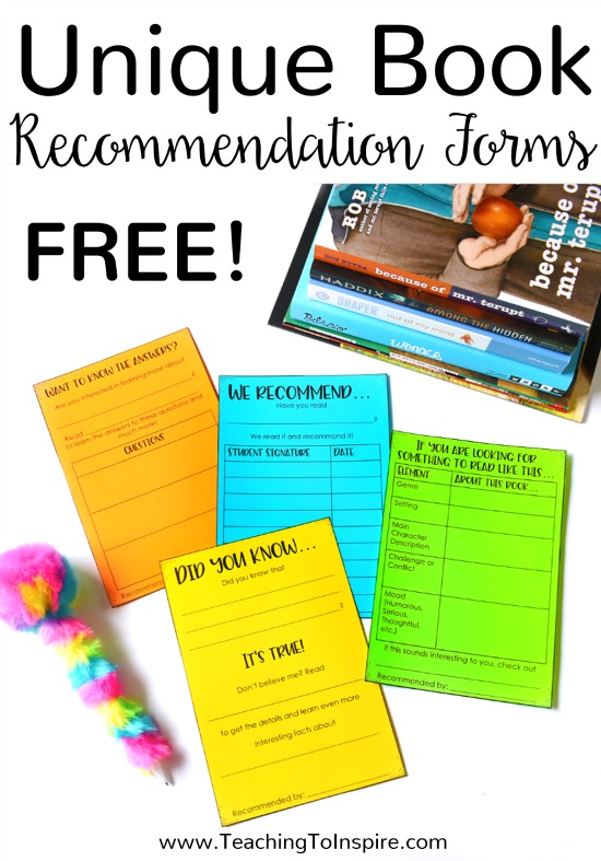 Students love sharing books they enjoy! Grab these FREE unqiue book recommendation templates to encourage your students to read more.