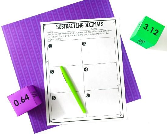 subtracting-decimals-activity