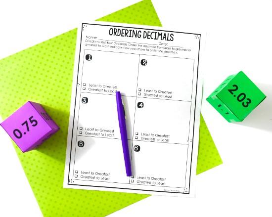 ordering-decimals-activities