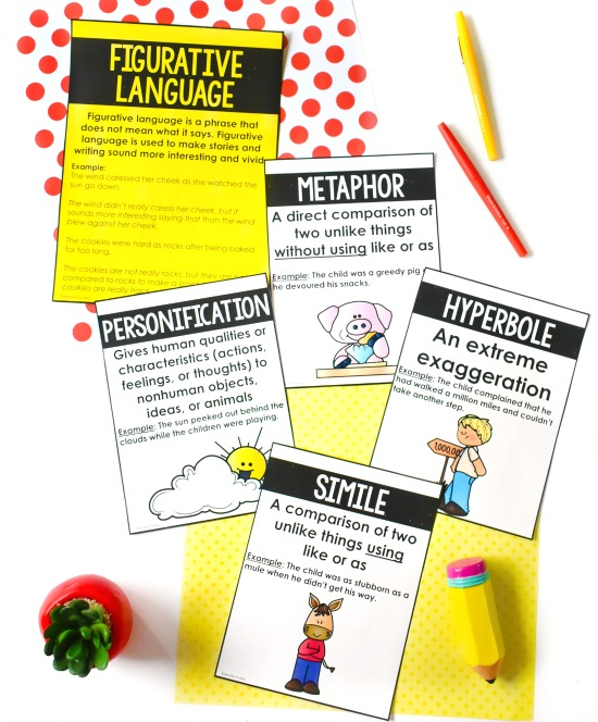 FREE figurative language posters! Check out this post for more ideas and resources for teaching figurative language, including mentor texts and read alouds.