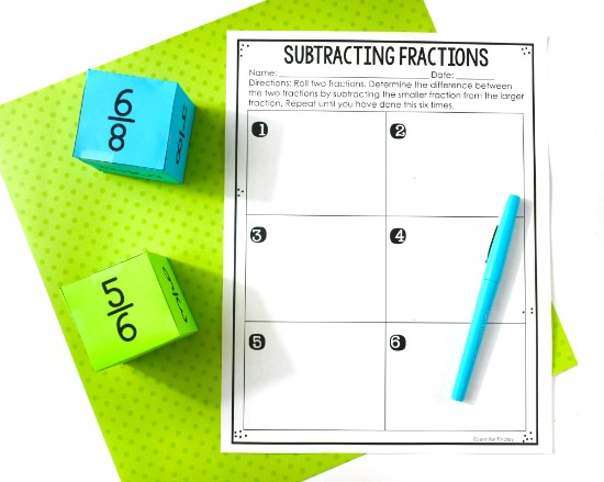 Download this free fraction activity and others on this post.