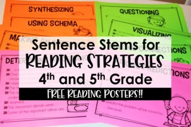 FREE sentence stems for reading strategies! Help your 4th and 5th grade readers share (and record) their thoughts while reading with these FREE sentence stems for reading strategies.