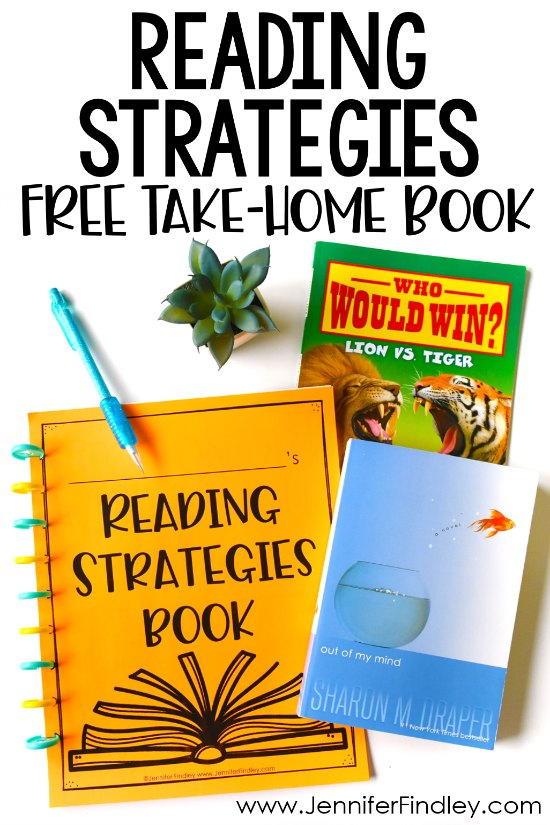 FREE reading strategies take-home book! Sometimes struggling readers need a bit more support to apply reading strategies while they are reading independently or at home. Grab free reading strategy printables to make a FREE take-home book to support your students while they are reading at home!