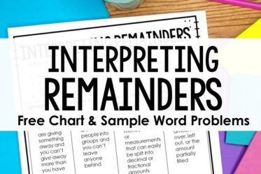 Teaching division with remainders can be tricky. Read how I teach my students to interpret remainders and grab a free interpreting remainders anchor chart and sample division word problems.