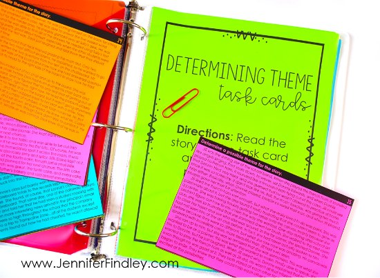 Theme task cards are a great to have students practice identifying theme. Teaching themes in literature made easy and effective! Read how I teach theme and the theme activities I use on this post, free resource included!