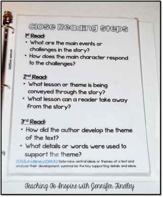 Close Reading Steps for Teachers